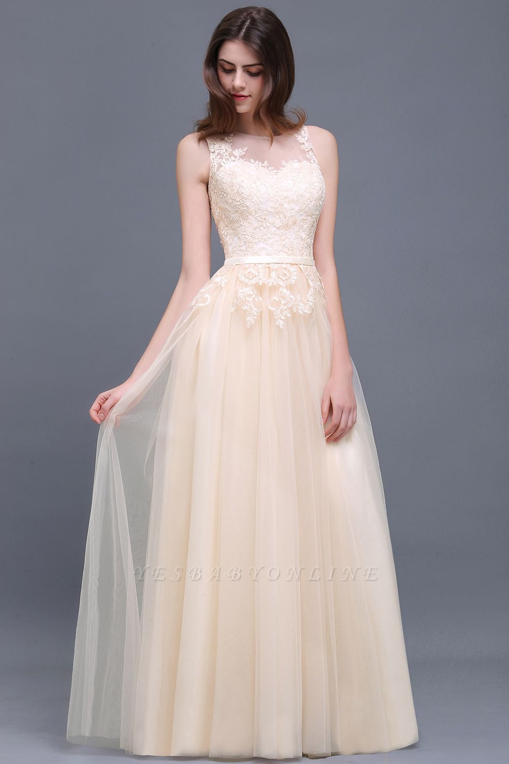 Lace Sleeveless Long Tulle Prom Dress