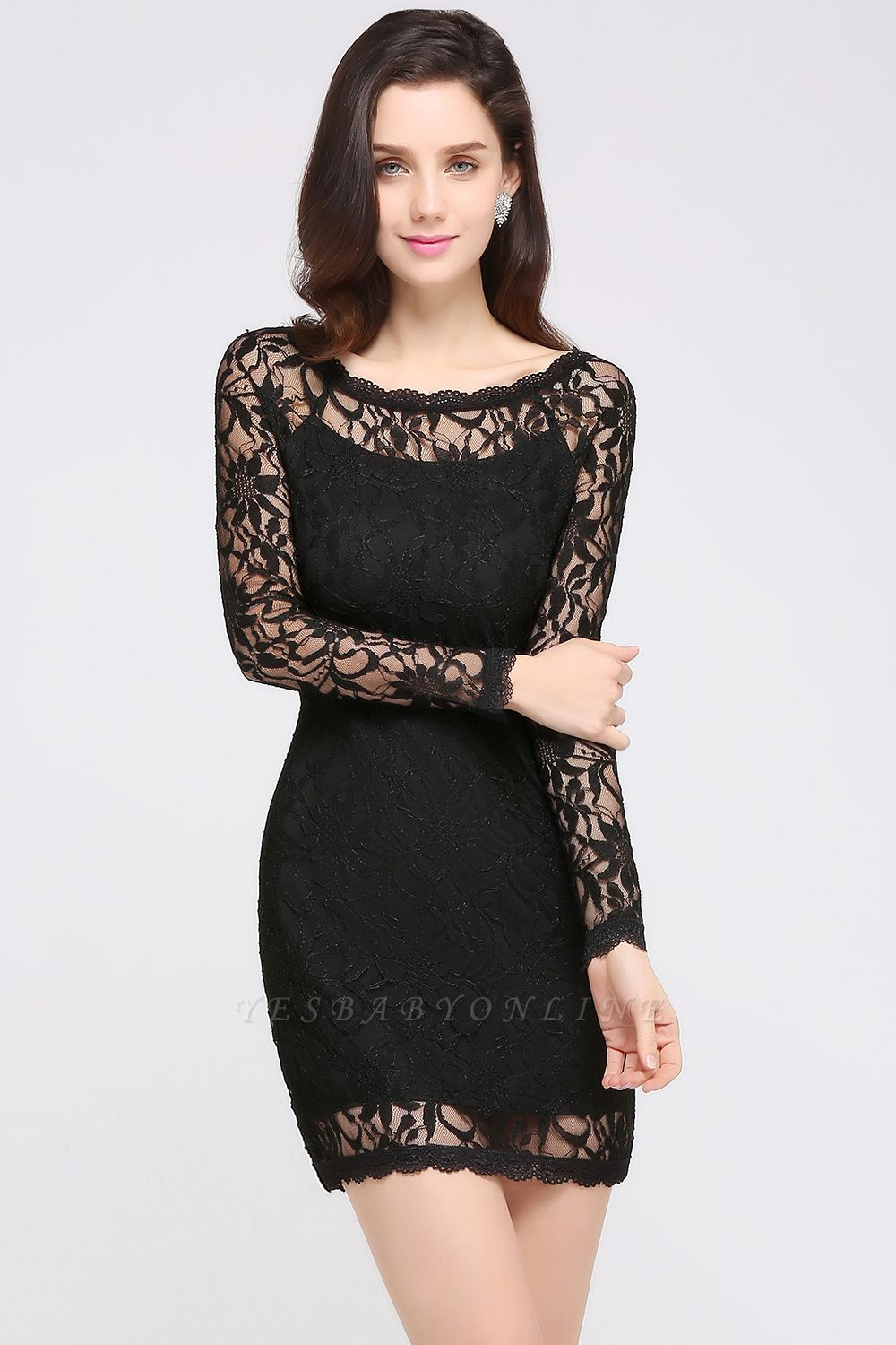 Lace Sheath Sexy Black Homecoming Dresses with Long Sleeves