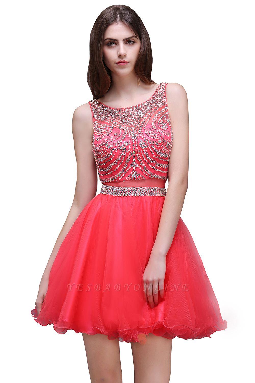 Rose Beads Applique Cute A-Line Crystal Short Sleeveless Evening Dresses