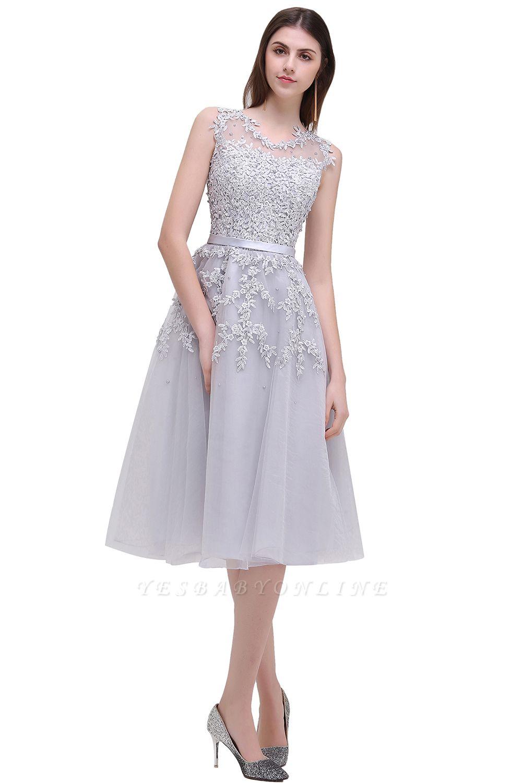 EMORY | Crew Tea Length Lace A-Line Appliques Short Prom Dresses