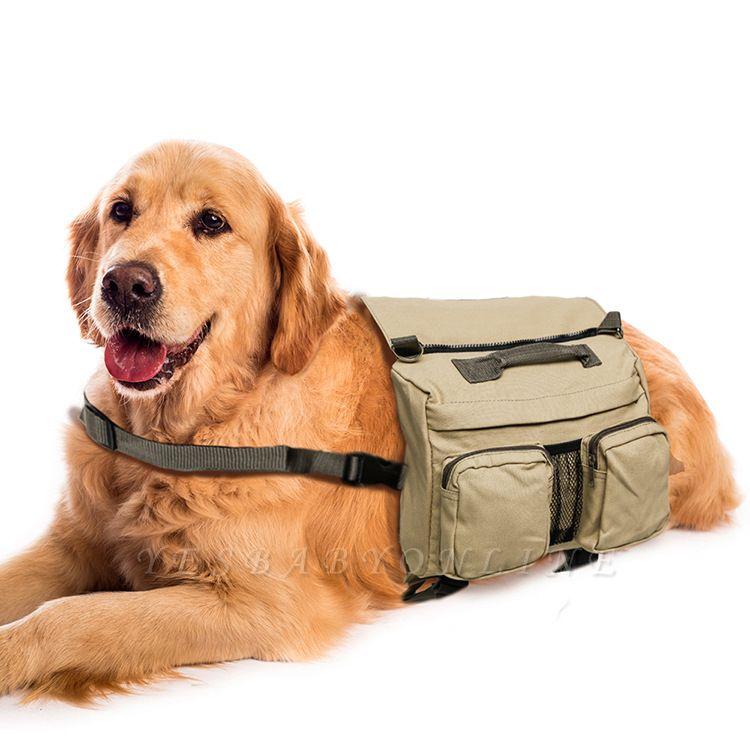 Dog Backpack Hiking Harness Canvas Saddle Bag Adjustable Straps