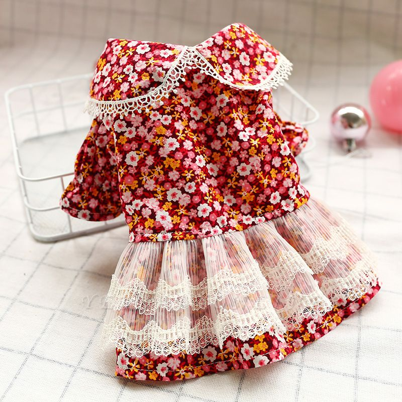 Lovely Short Sleeve Floral Dog Skirts | Pets Cloth With Ruffles