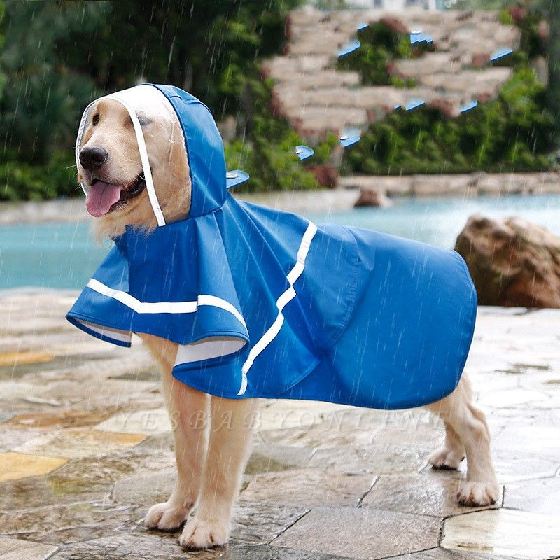 Blue Waterproof Hoody Reflective strip Dog Raincoat | Jacket Pet Clothes
