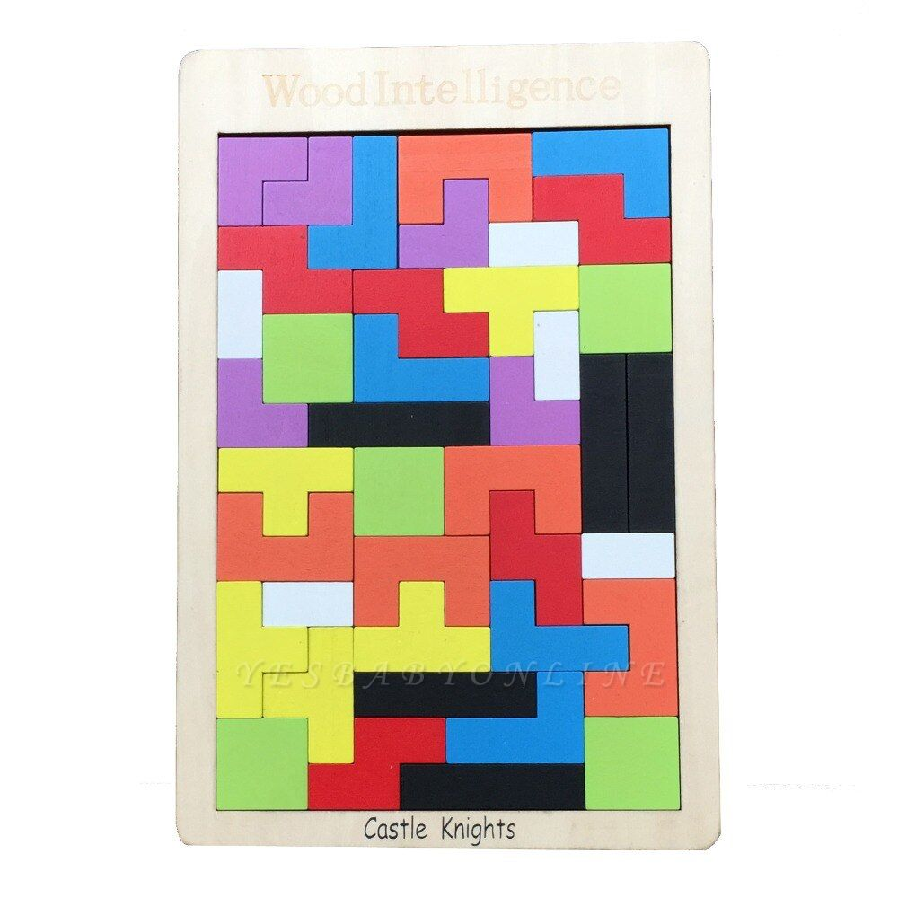 Castle Knights Baby Wooden Tetris Puzzle Jigsaw Board Tellectual Educational Toys for Kids