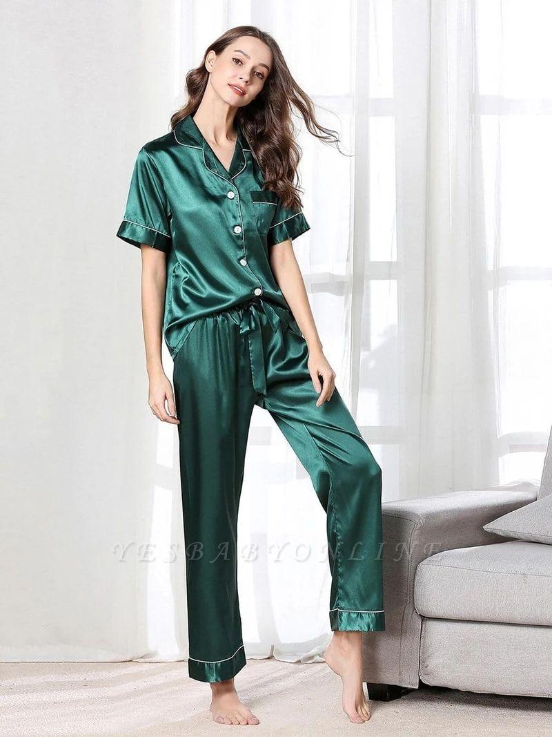 Imitate Short Sleeves Silk Pajamas