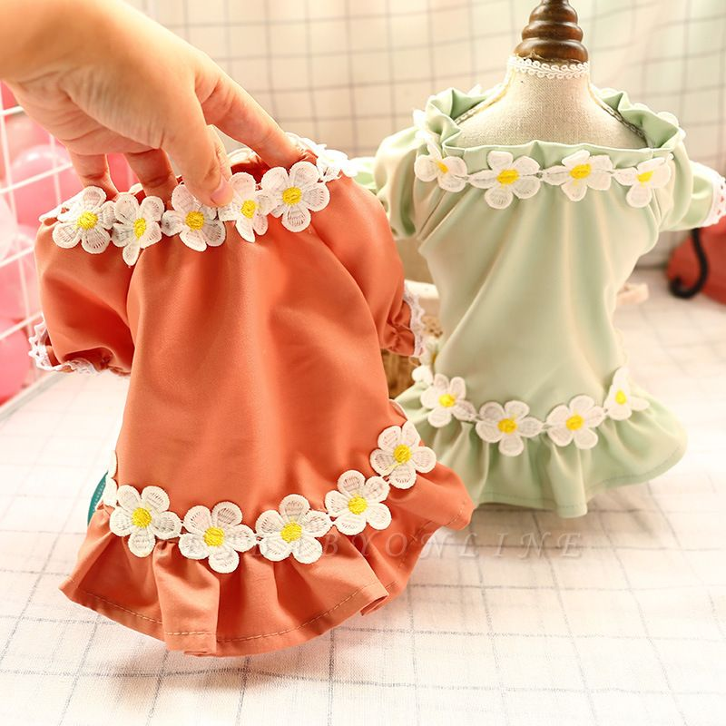Lovely Short Sleeve Flowers Puppy Skirts For Small Pet