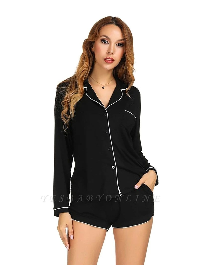 Women's Long Sleeves Pajamas Set Home Clothes