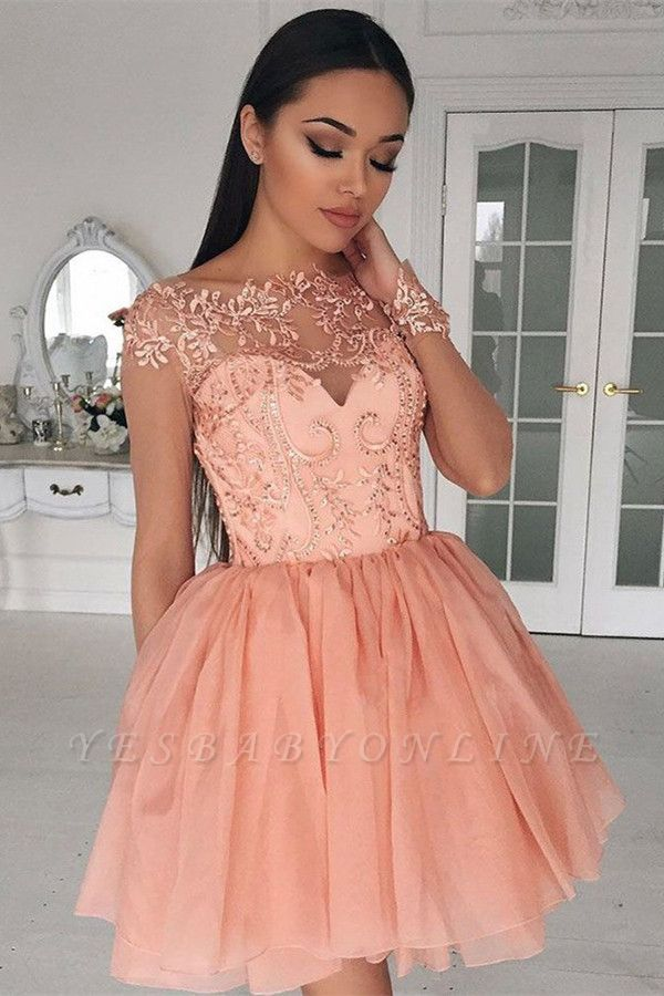Coral Homecoming Dresses Lace Appliques Beaded Puffy Short Prom Dresses