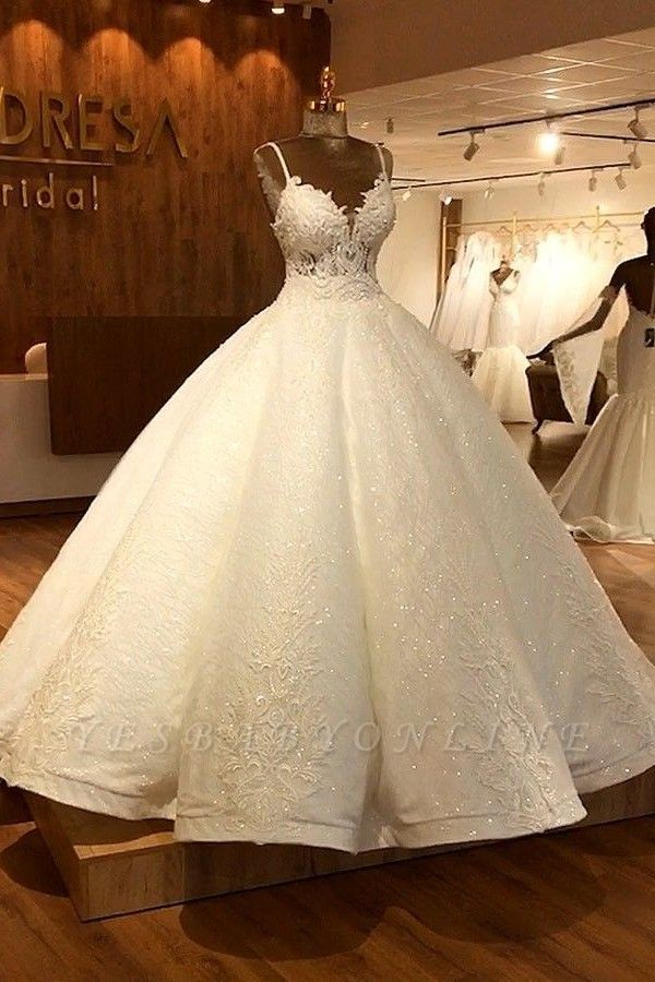 Stunning Ball Gown Wedding Dresses | Spaghetti Straps Lace Bridal Gown