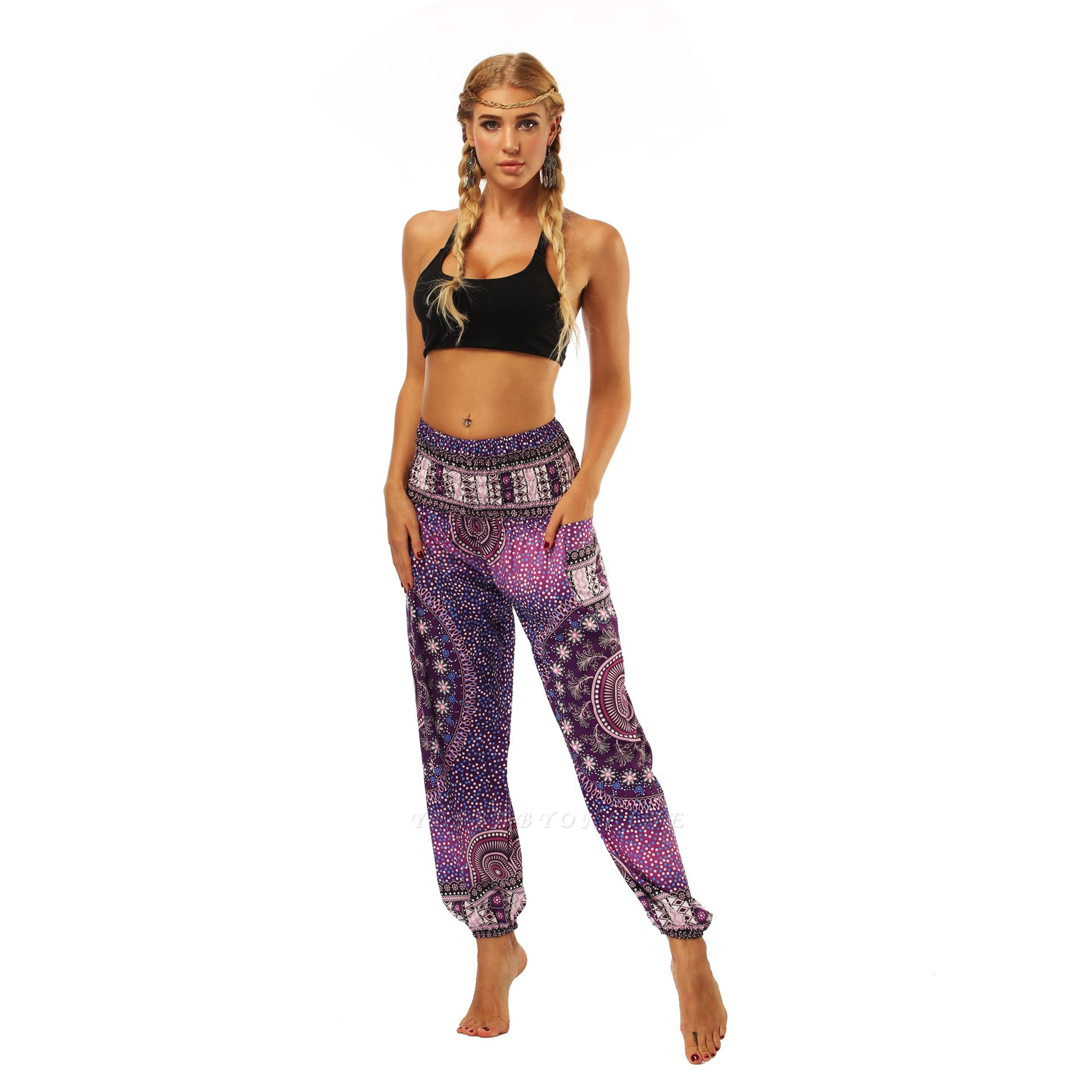 Printed Long Sports Loose High Waist Exercise Yoga Pants