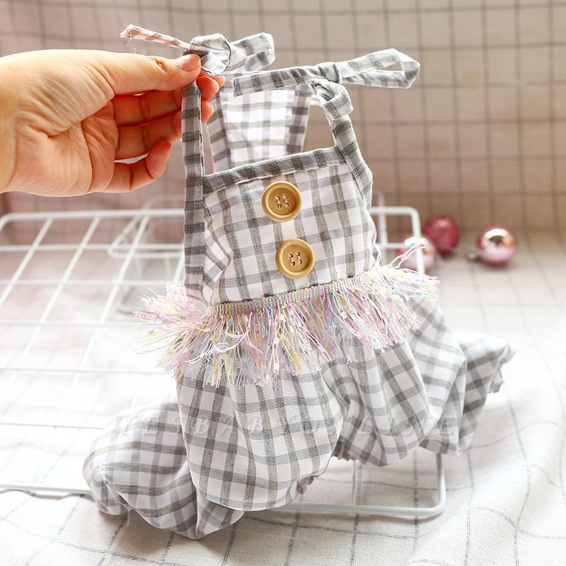 Cute Straps Grid Dog Jumpsuit Covered Belly | Pet Cloth For Small Dog