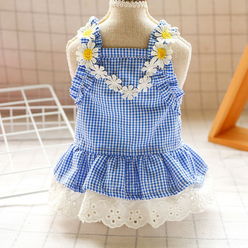 Summer Blue Sleeveless Grid Lace Dog Skirts