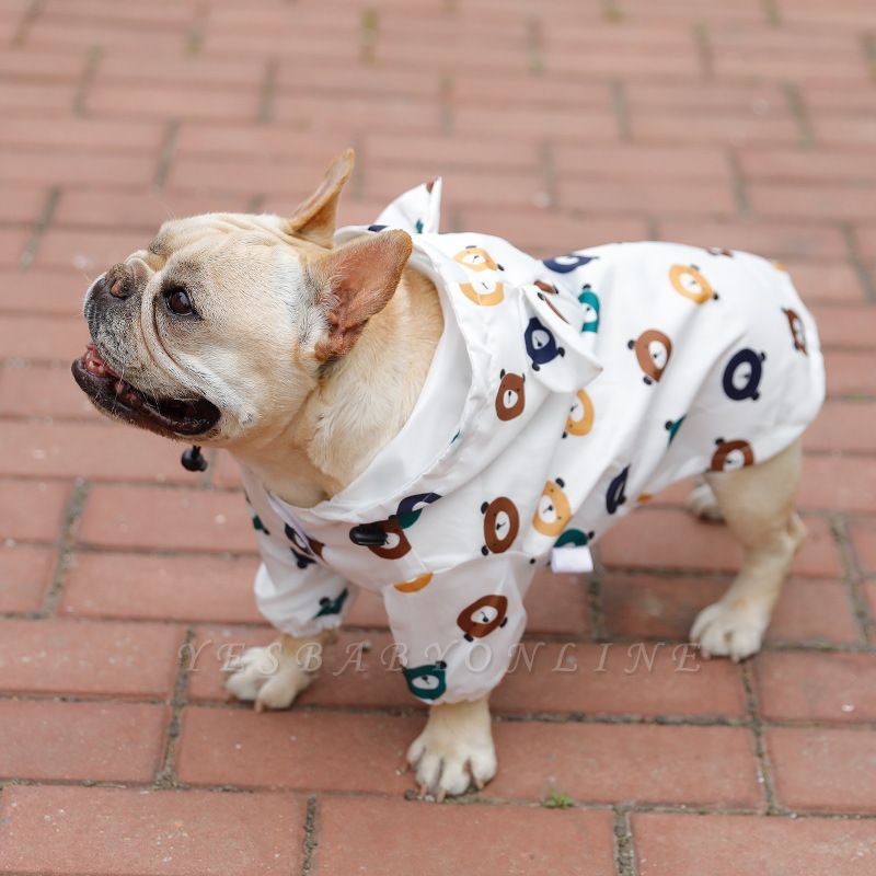 Cute Dog Jumpsuit Raincoat Adjustable Lightweight Breathable Rain Poncho