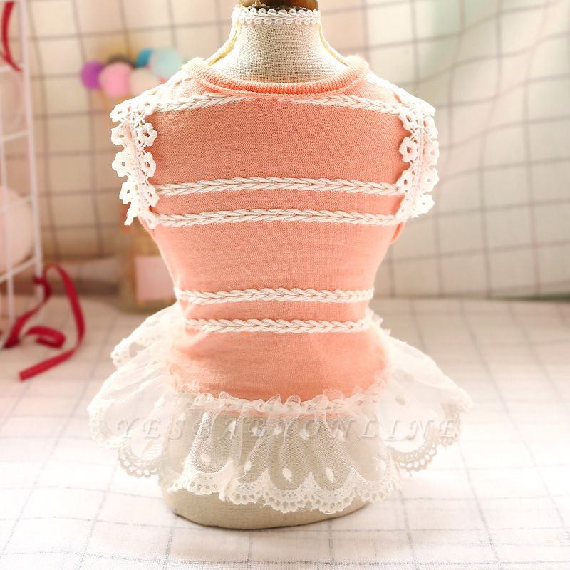 Summer Dog Clothes Pet Girl Lace T Shirts For Dogs Cats Vest | Fashion Knit Dog Shirts Costume