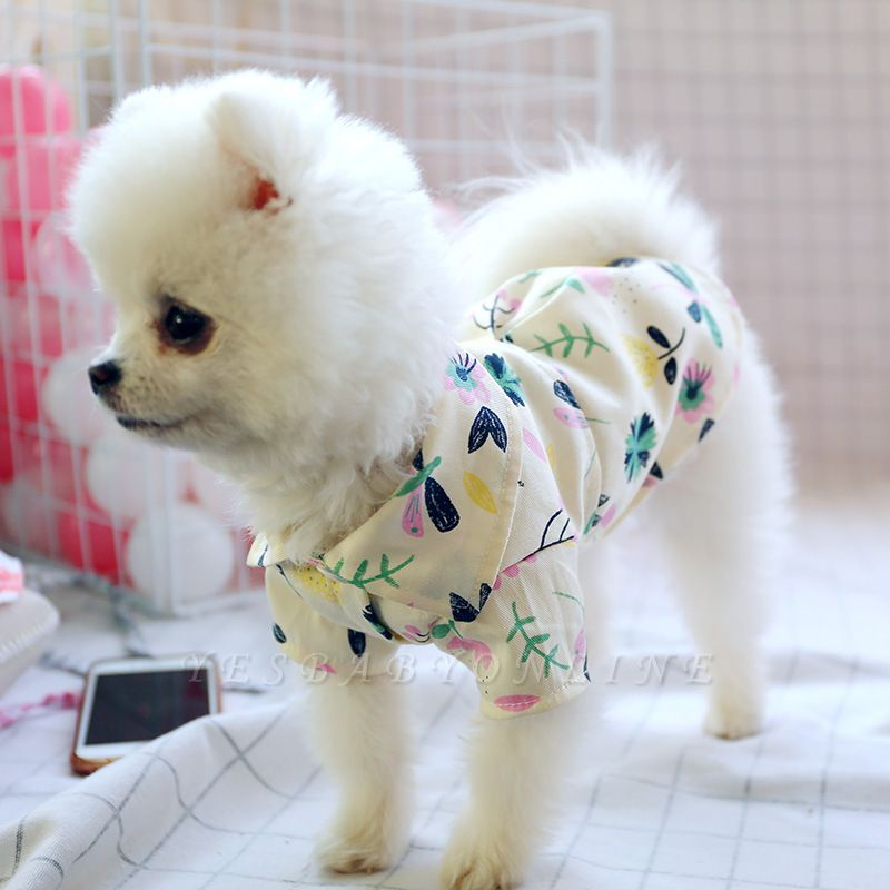 Summer Print Short Sleeeve Dog T-Shirt