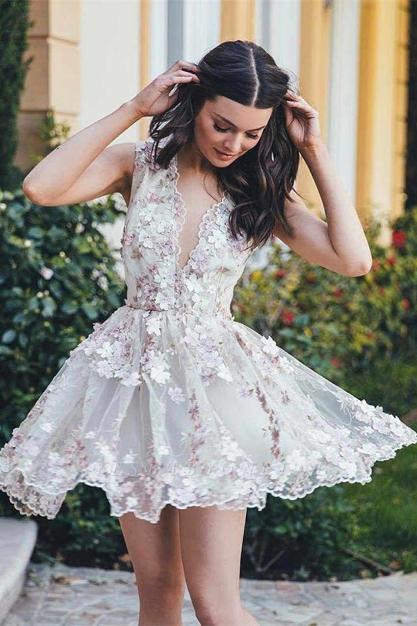 Short Sleeveless Elegant A-line Flowers Homecoming Dress