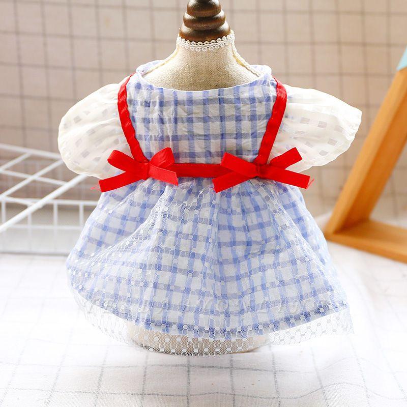 Short Sleeve Grid Bow  Pets Cloth