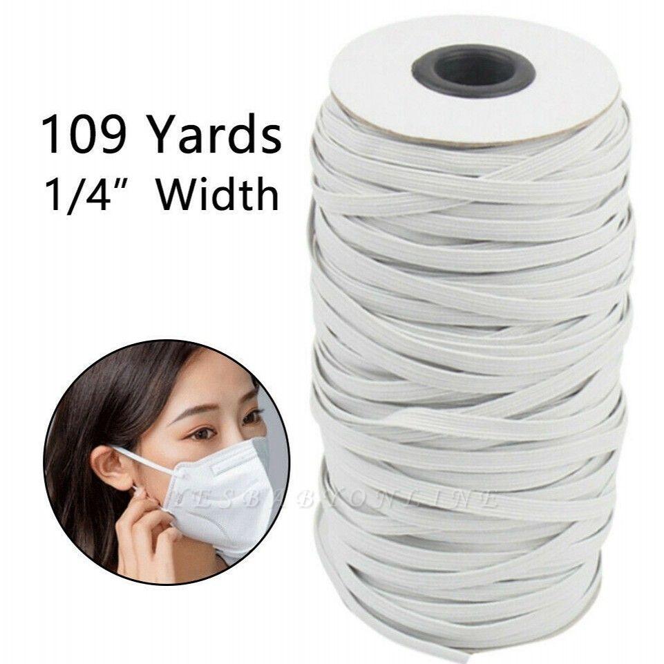 109 Yards Braided Elastic Band White Elastic Cord