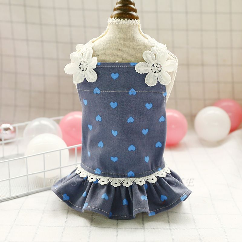 Cute Summer Sleeveless Print  Flowers Lace Small Ruffles Dog Skirts