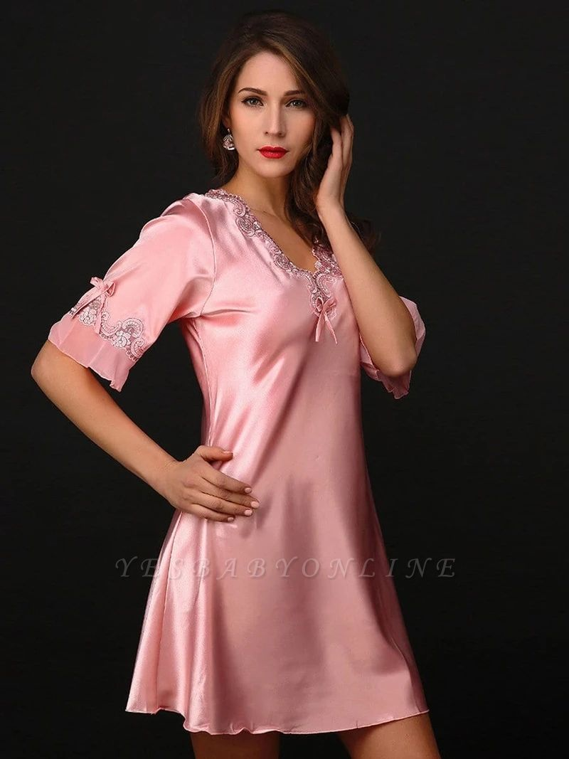 Women's Sexy Imitate Silk Dressing Gown