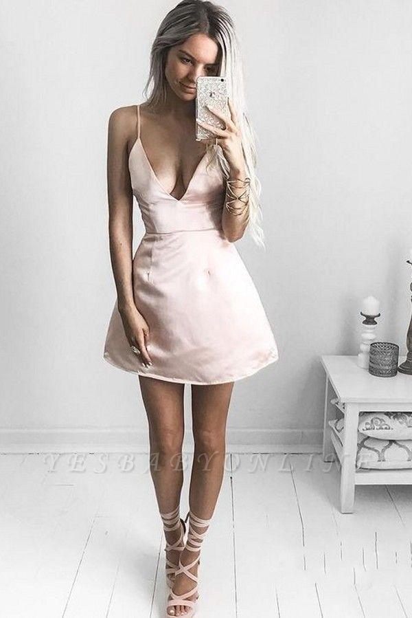Sexy V-neck Homecoming Dresses   Spaghetti-Straps Short Cocktail Dresses