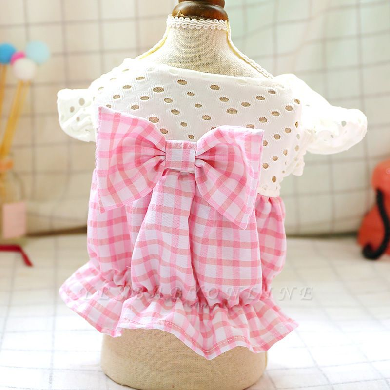 Dog Summer Pink Checked Bow Bud Hollowed-out Skirt Pet Costume