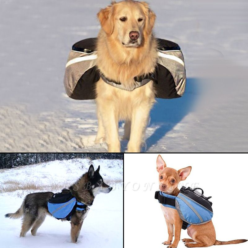 Dog Canvas Hiking Saddle Backpacks for Medium & Large Dogs