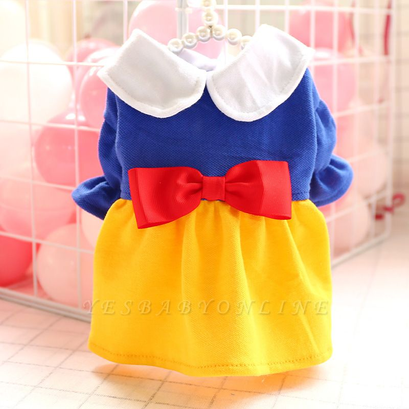Short  Sleeve Bow Dog Skirt With Collar For Small Puppy