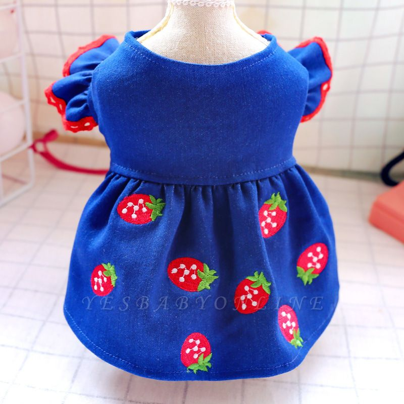 Dark Navy Bubble Sleeve Small Dog Skirts With Pattern