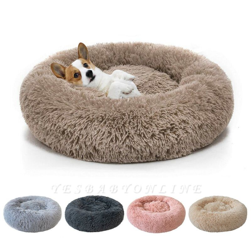 Donut Plush Pet Dog Cat Bed Fluffy Soft Warm Calming Bed