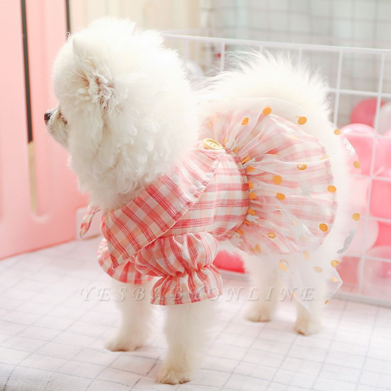 Grid Short Sleeve Girl Dog Skirt With Collar For Small Puppy