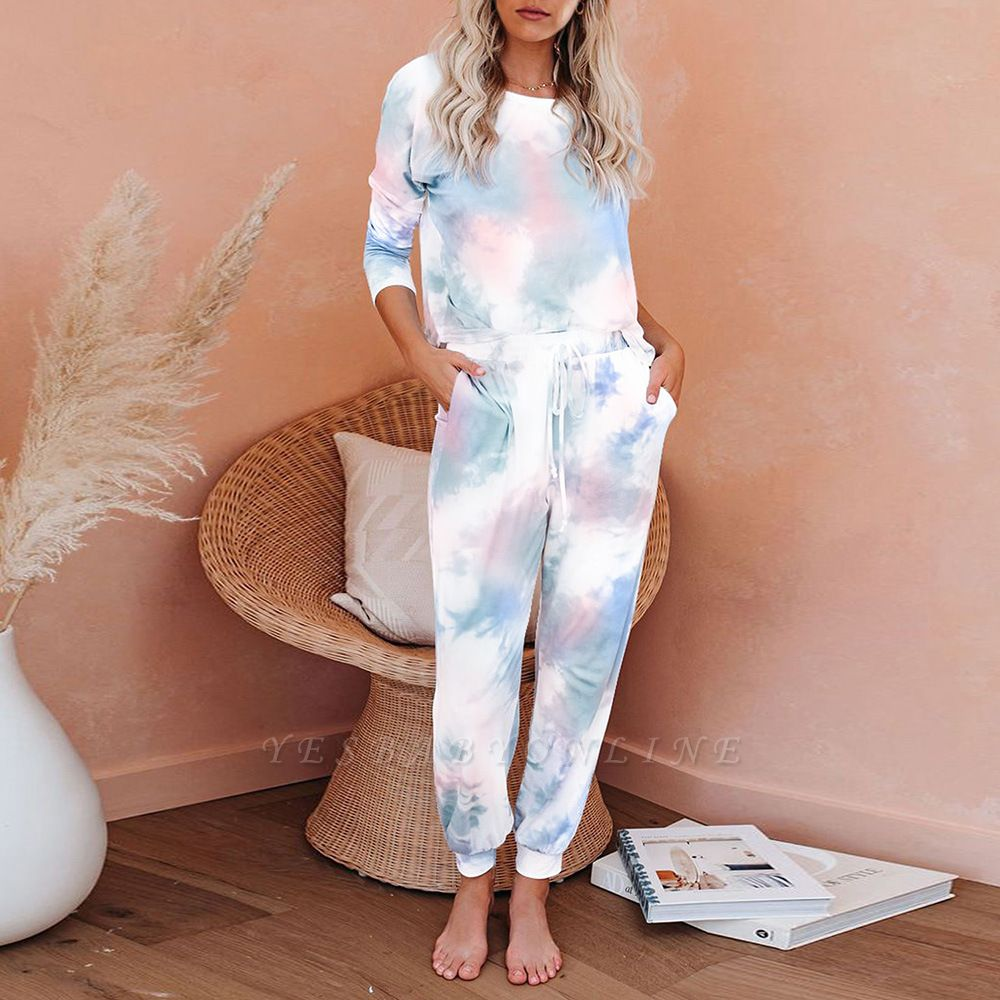 Casual Tie-dyed Home Clothes Twinset