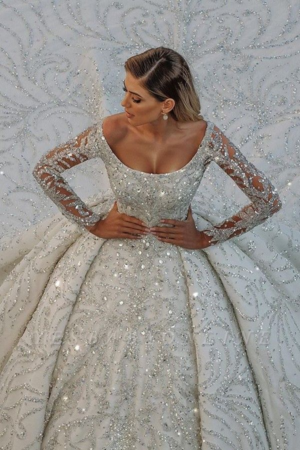 Glamorous Off The Shoulder Backless Long Sleeve Crystal Sequin Ball Gown Wedding Dresses