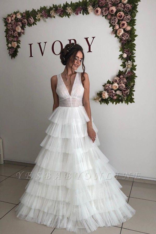 Straps Deep V Neck Ruffles Tulle A  Line Wedding Dresses