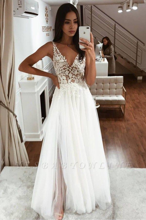 Straps V Neck Applique Lace V Back Tulle Floor Length A  Line Wedding Dresses