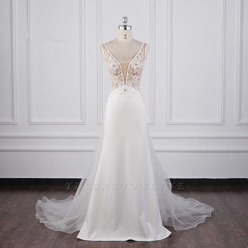 Graceful Sleeveless V Neck Tulle Beading Wedding Dresses With  Lace Appliques