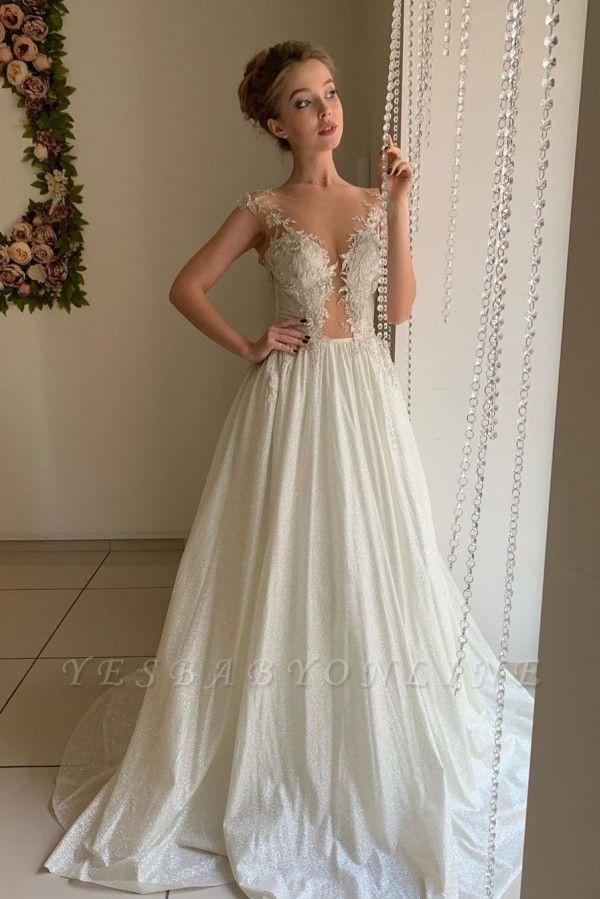 Elegant Sweetheart Cap Sleeve Applique Tulle Pleated A  Line Wedding Dresses