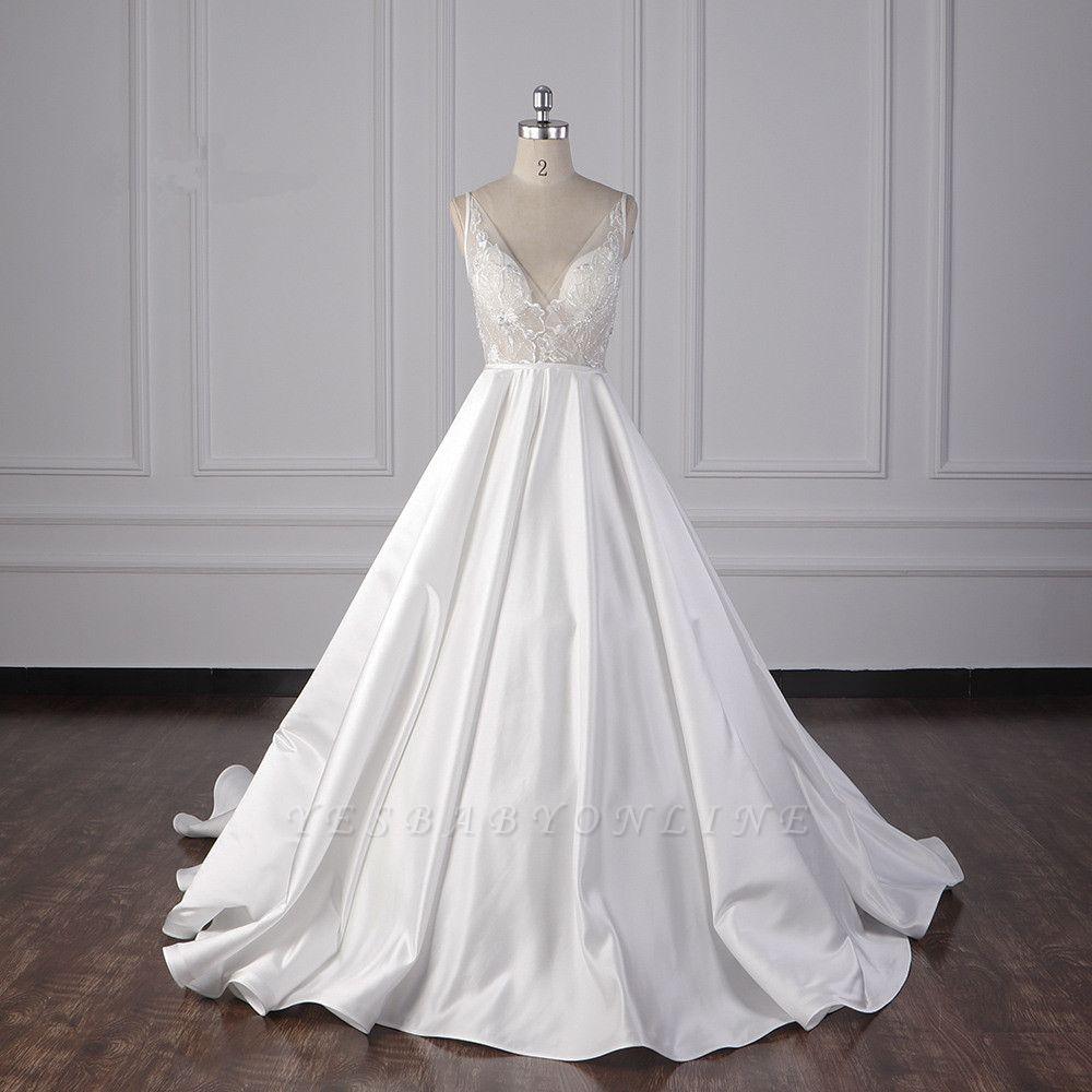 Beautiful Sleek Satin White Appliques Wedding Dresses Long