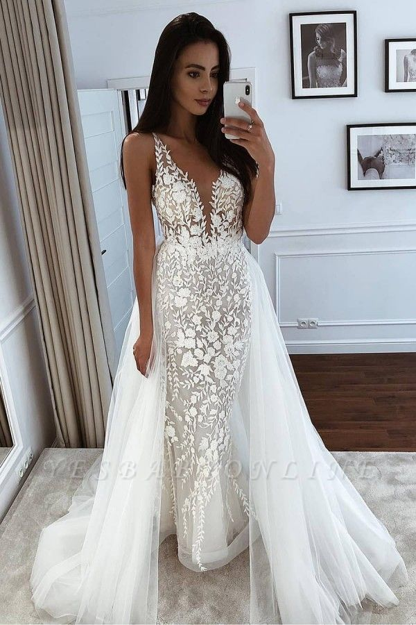 Straps V Neck Applique Lace Tulle Sheath Wedding Dresses With Detachable Train