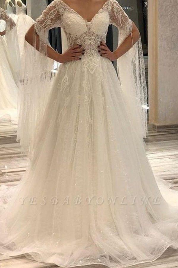 Off The Shoulder V Neck Lace A Line Wedding Dresses | Sequin Wedding gown
