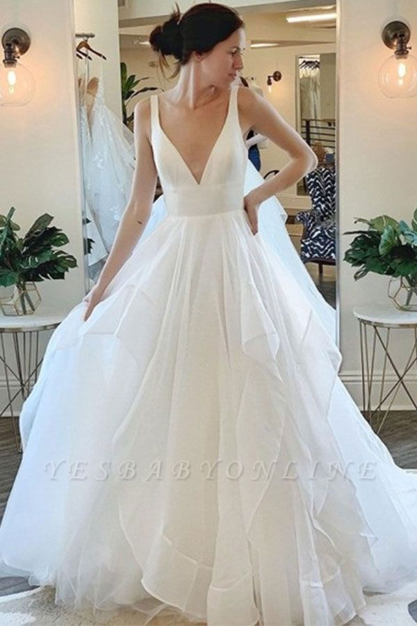 Sexy Straps Deep V Necke A line Wedding Dress   Tulle Wedding Gown