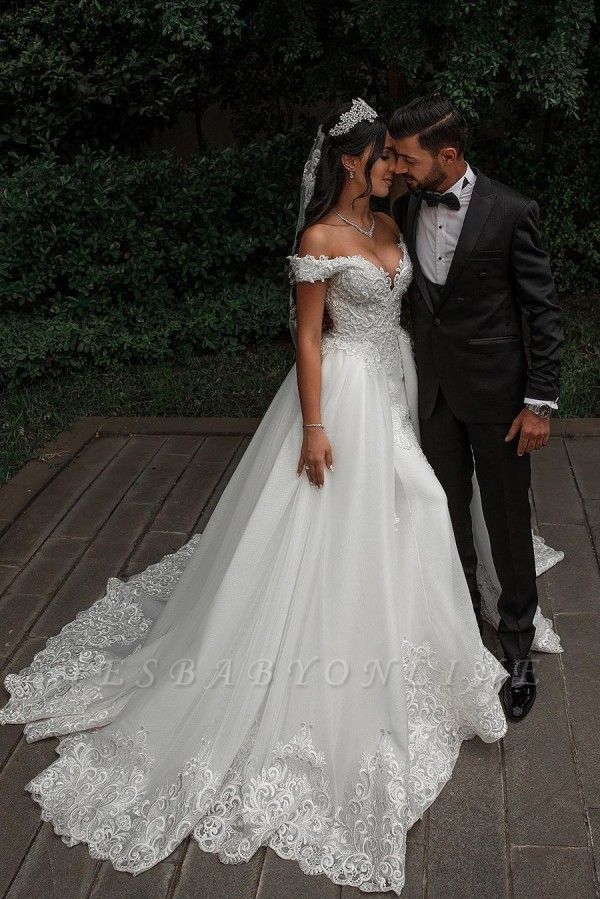 Stunning Sweetheart Off The Shoulder Crystal Sequin Applique Sheath Wedding dresses With Detachable Train