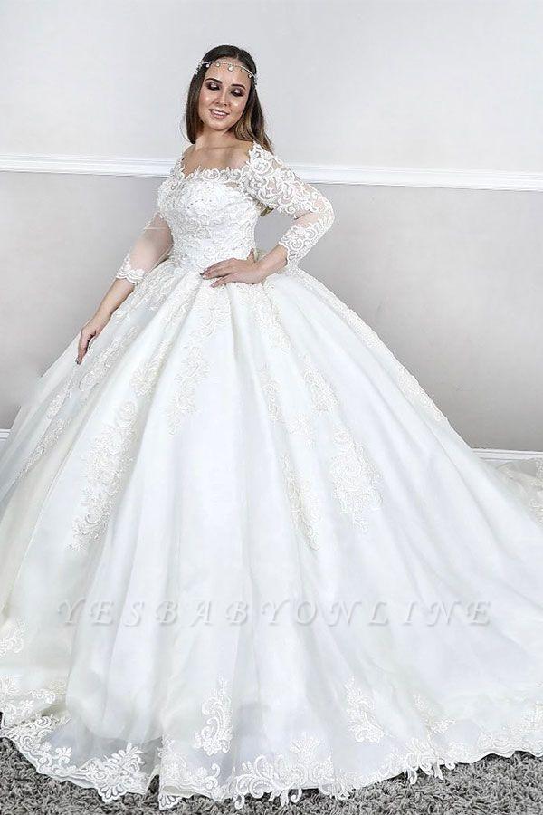 Bateau Plus Size Long Sleeve Applique Puffy Ball Gown Wedding Dresses