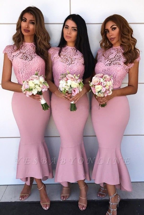 Tea Length Lace Mermaid Bridesmaid Dresses  | Affordable Maid of Honor Dresses