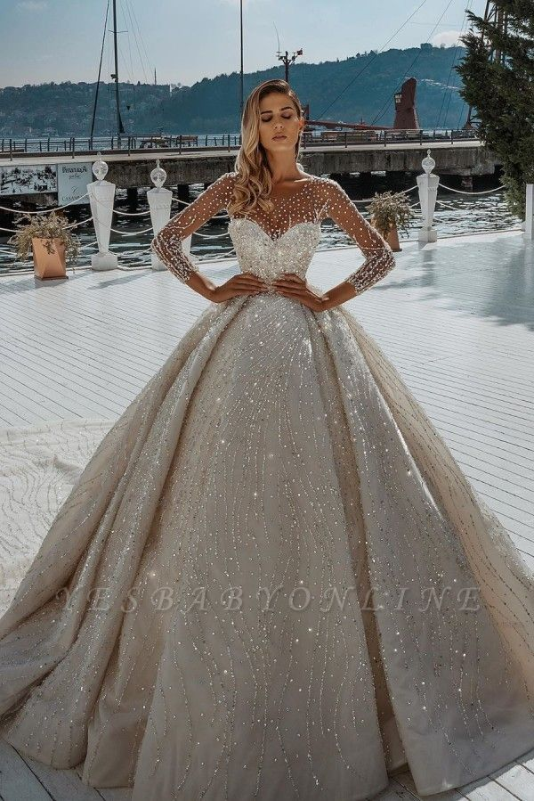 Sparkly Long Sleeve Jewel Crystal Sequin Pleated Ball Gown Wedding Dresses