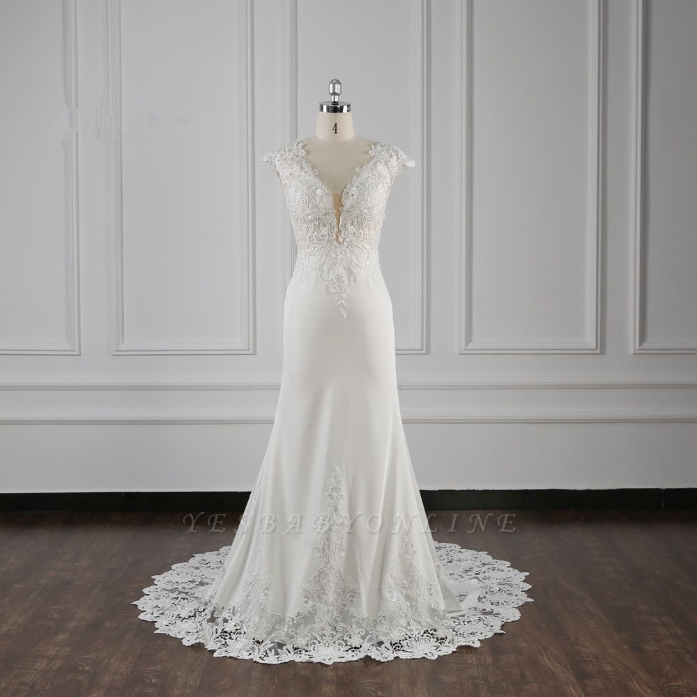 Graceful Sleeveless Tulle Sequins Mermaid Wedding Dresses With Lace Appliques