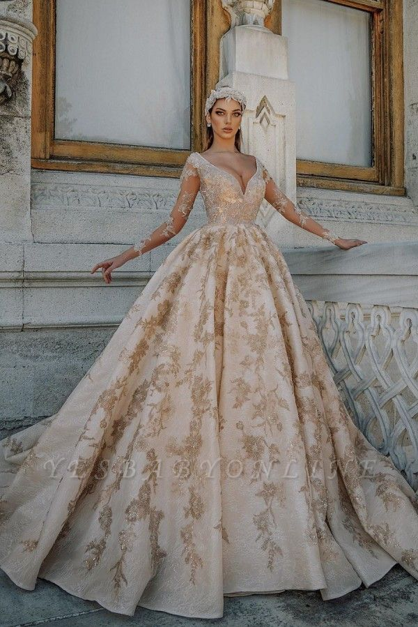 Gorgeous Long Sleeve Plunging V Neck Crystal Sheer Ball Gown Wedding Dresses With Gold Applique