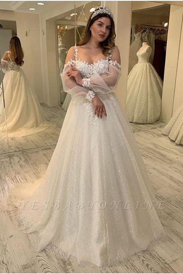 Elegant Jewel Long Sleeve Applique Floral Sequin A Line Wedding Dresses