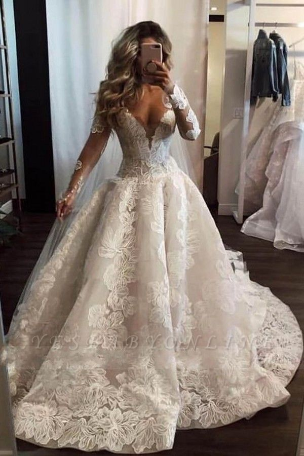 Sexy V Neck Long Sleeve Floral A Line Wedding Dresses Yesbabyonline Com