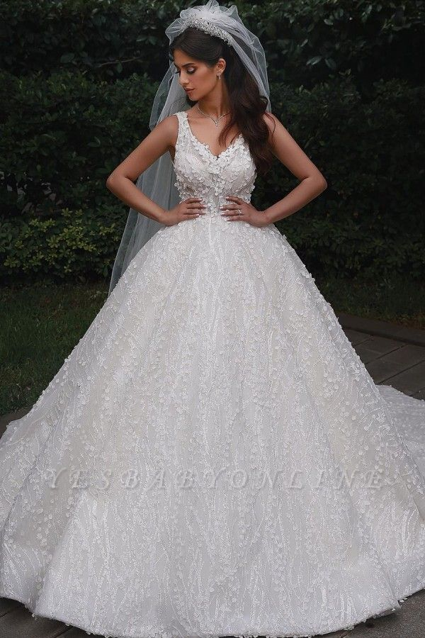 Elegant Straps V Neck Backless Floral Crystal Pleated Ball Gown Wedding Dresses